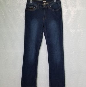 Reba Jeans Dark Wash With Cheeta Print